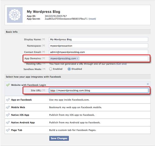 Site Url: Creating A Facebook App For Wordpress
